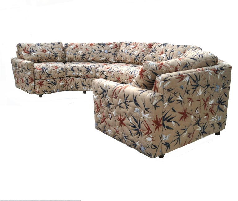 American Two-Piece Semi Hexagonal Sectional Sofa in the Manner of Milo Baughman For Sale