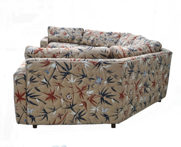 Two-Piece Semi Hexagonal Sectional Sofa in the Manner of Milo Baughman In Good Condition For Sale In Wayne, NJ