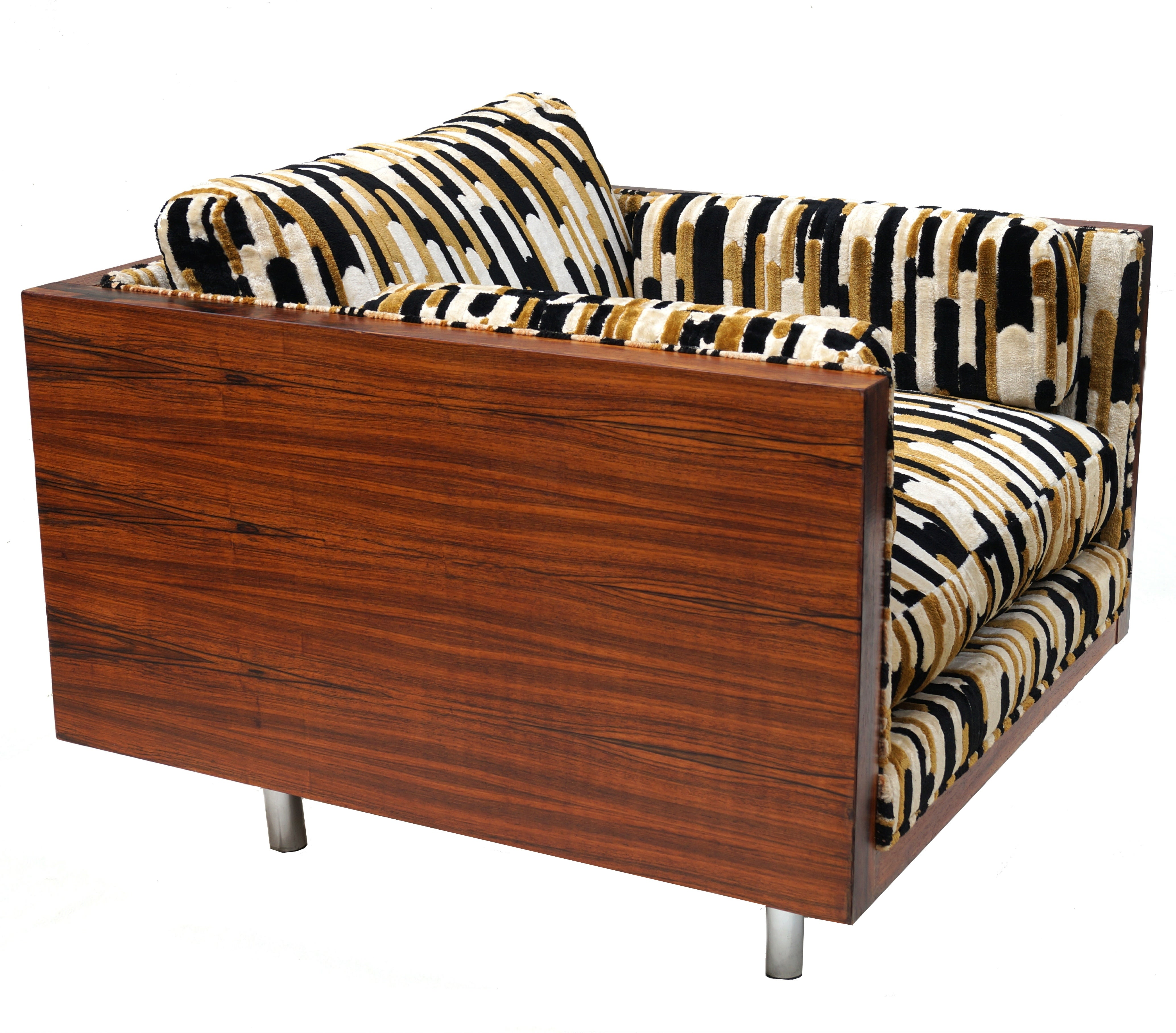 Stupendous Mid Century Modern Rosewood Lounge Cube Chair Manner Of Milo Baughman Onthecornerstone Fun Painted Chair Ideas Images Onthecornerstoneorg