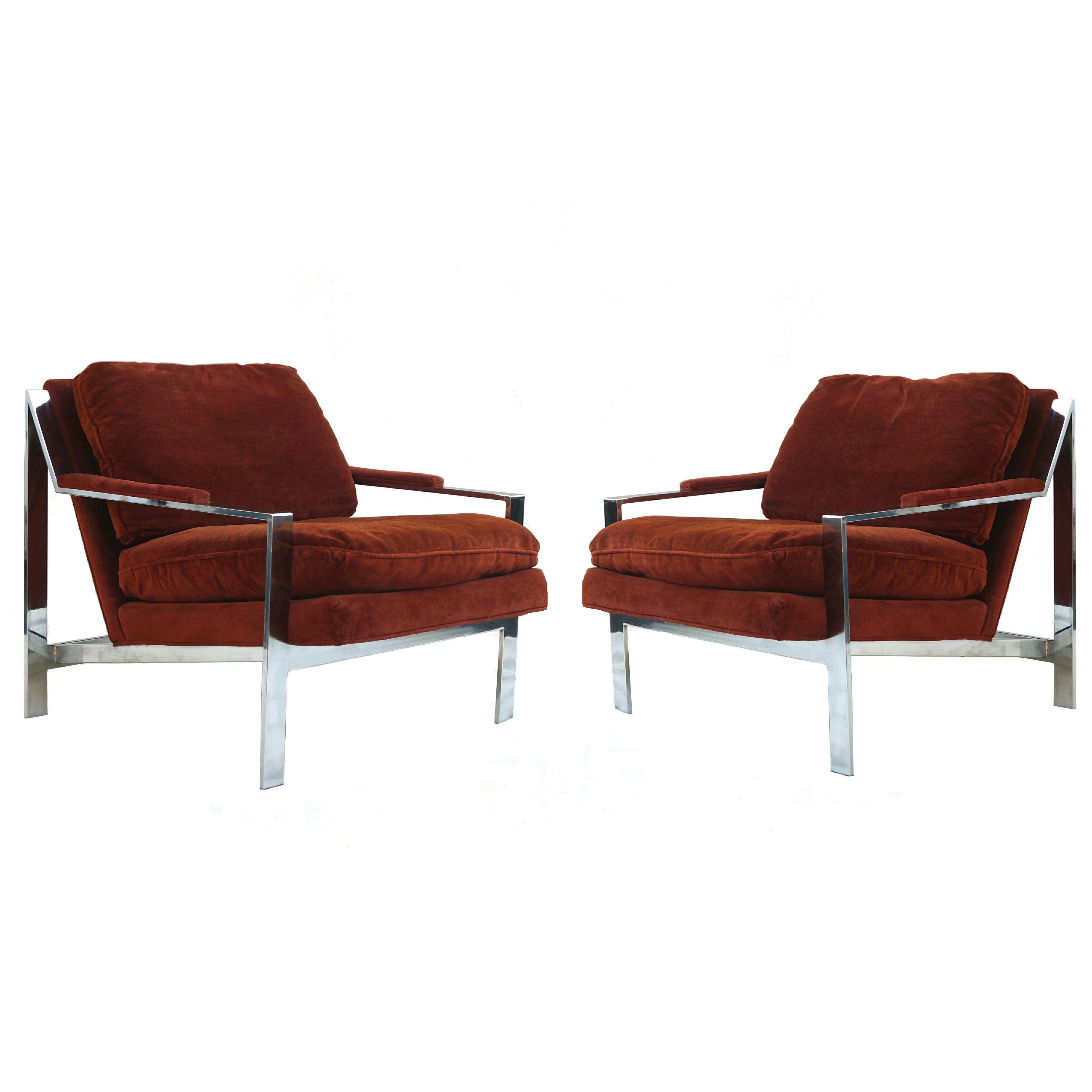 Pair of Cy Mann Mid-Century Modern Chrome Lounge Chairs
