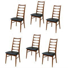 Set of 6 Danish Modern Teak Ladder Back Niels Koefoeds Dining Chairs Hornslet