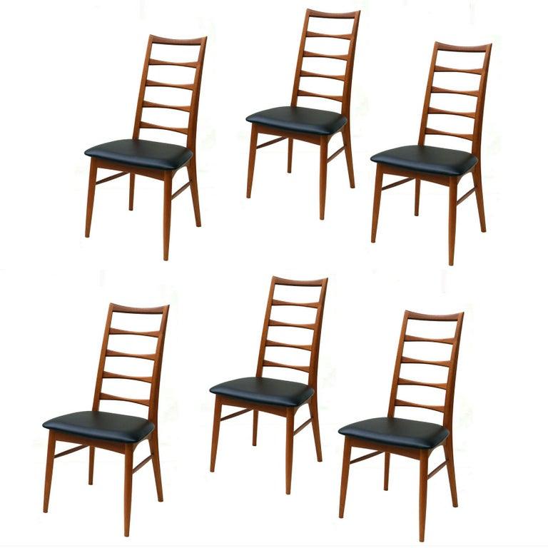 Set of 6 Danish Modern Teak Ladder Back Niels Koefoeds Dining Chairs Hornslet