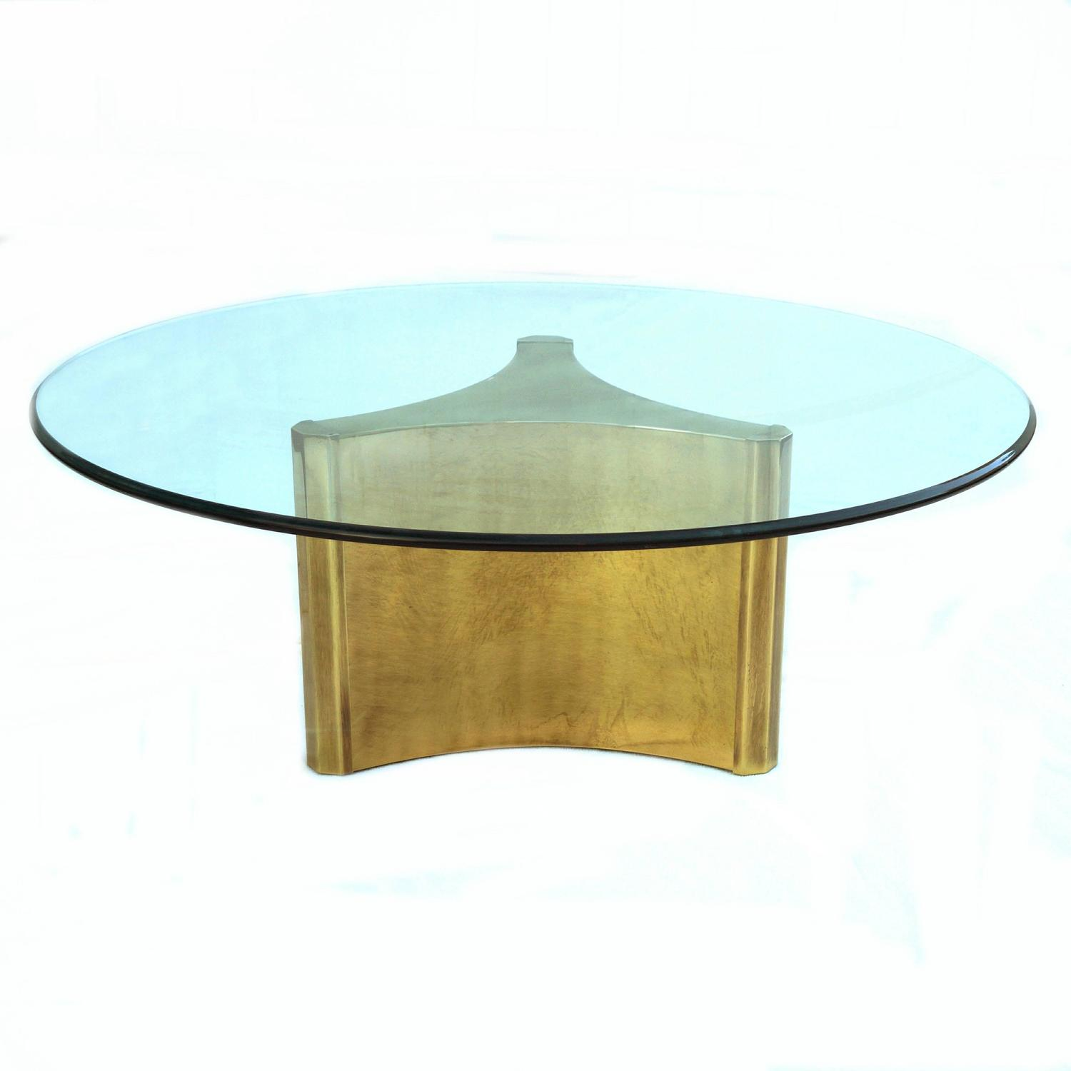 Mastercraft Pedestal Coffee Sofa Cocktail Table With Glass Top At 1stdibs