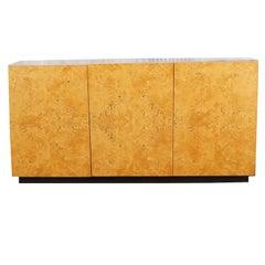 Milo Baughman Style Burl Wood Credenza Buffet Sideboard