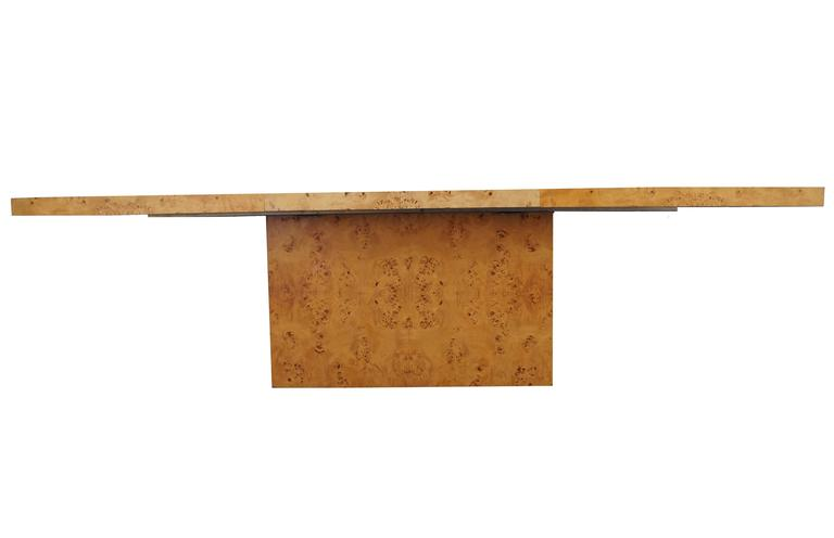Mid-Century Modern Milo Baughman Burl Wood Dining Table For Sale
