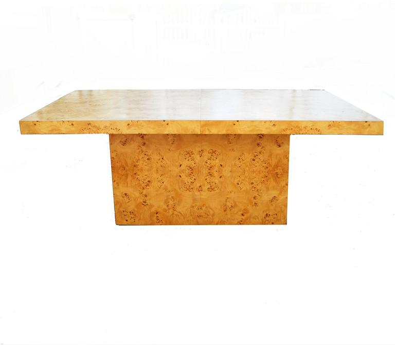 Milo Baughman Burl Wood Dining Table In Good Condition For Sale In Wayne, NJ