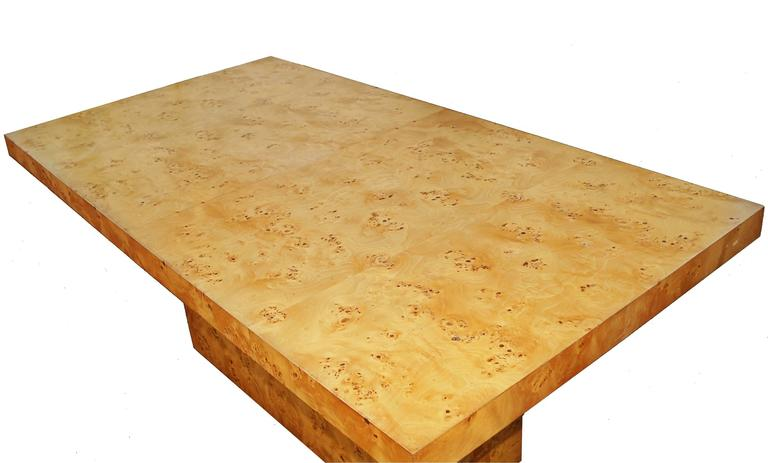 American Milo Baughman Burl Wood Dining Table For Sale