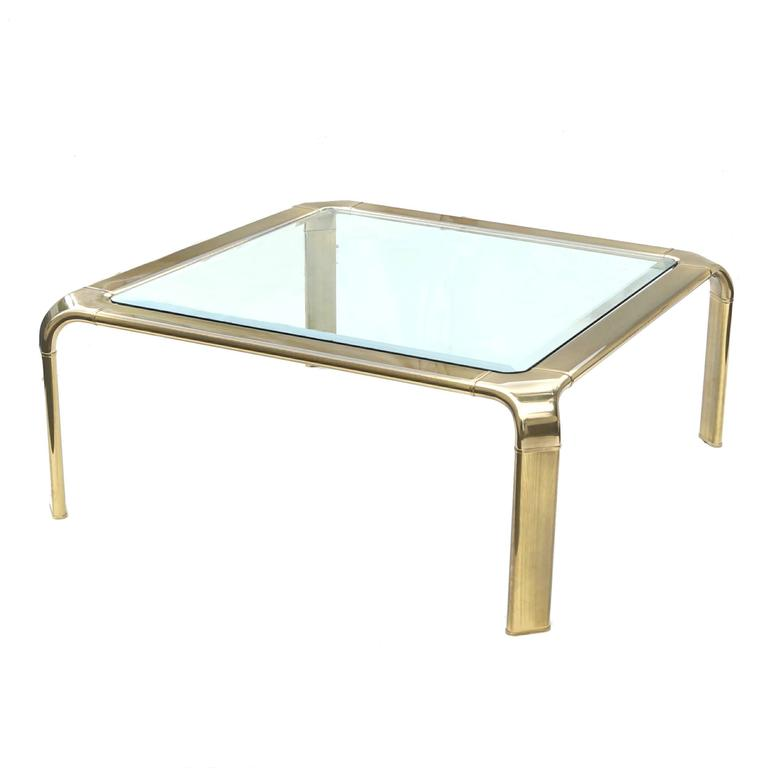 Mastercraft Modern Hollywood Regency Brass and Glass Coffee Cocktail Table 4