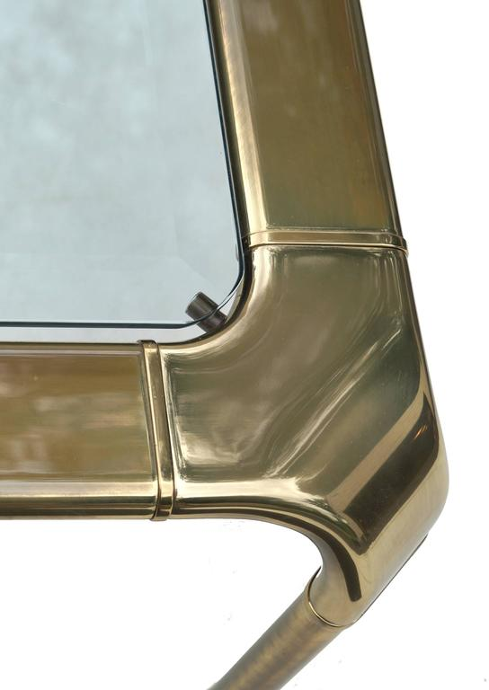 Mastercraft Modern Hollywood Regency Brass and Glass Coffee Cocktail Table 5