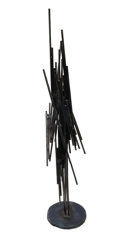 American Silas Seandel Mid-Century Brutalist Mixed Metal Tabletop Sculpture, 1973 For Sale