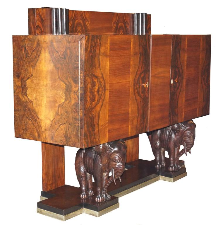 Carved Elephant Sideboard Buffet Credenza. Measures: Height Of Backslash Is  47 1/2u0026quot