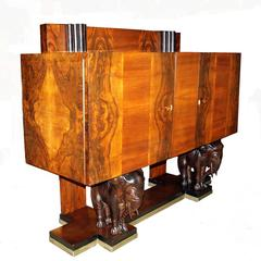 Figural Art Deco Burl Wood Carved Elephant Sideboard Buffet Credenza Console
