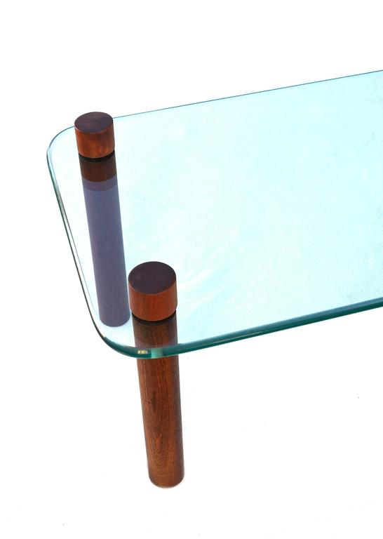 Mid-Century Cocktail Coffee Sofa Glass Table Attributed to Fabio Lenci In Good Condition For Sale In Wayne, NJ