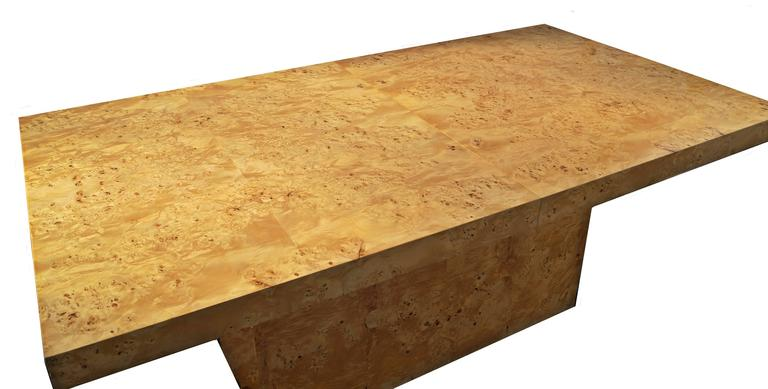 Late 20th Century Milo Baughman Expandable Burl Wood Dining Conference Table Wood For Sale