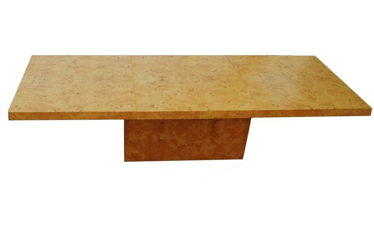 Milo Baughman Expandable Burl Wood Dining Conference Table Wood For Sale 1
