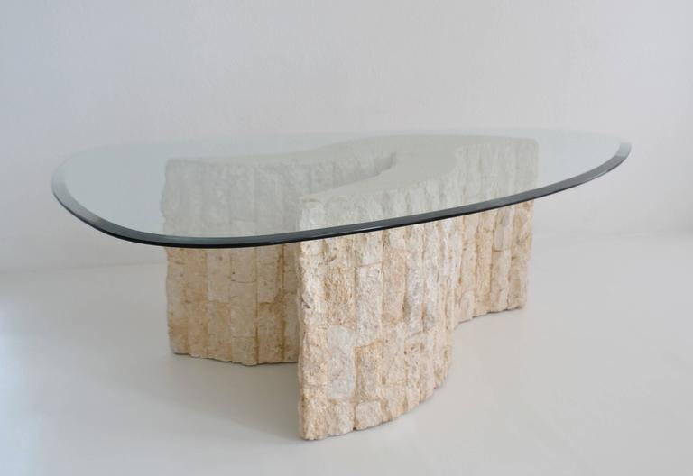 Post-Modern Tessellated Marble Coffee or Cocktail Table In Excellent Condition For Sale In West Palm Beach, FL