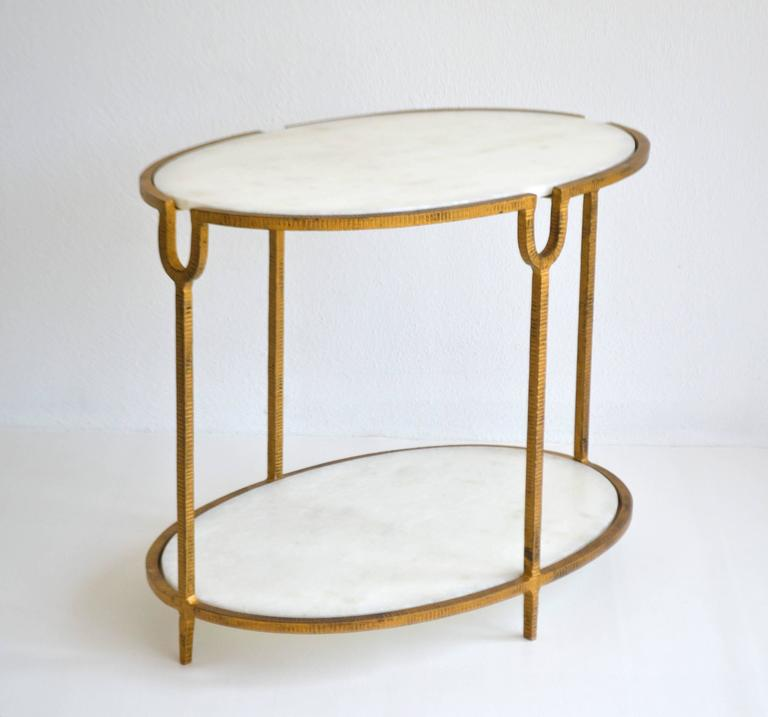 Late 20th Century Hollywood Regency Gilt Metal Side Table For Sale