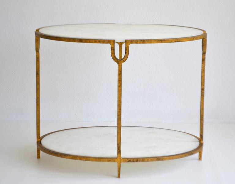American Hollywood Regency Gilt Metal Side Table For Sale