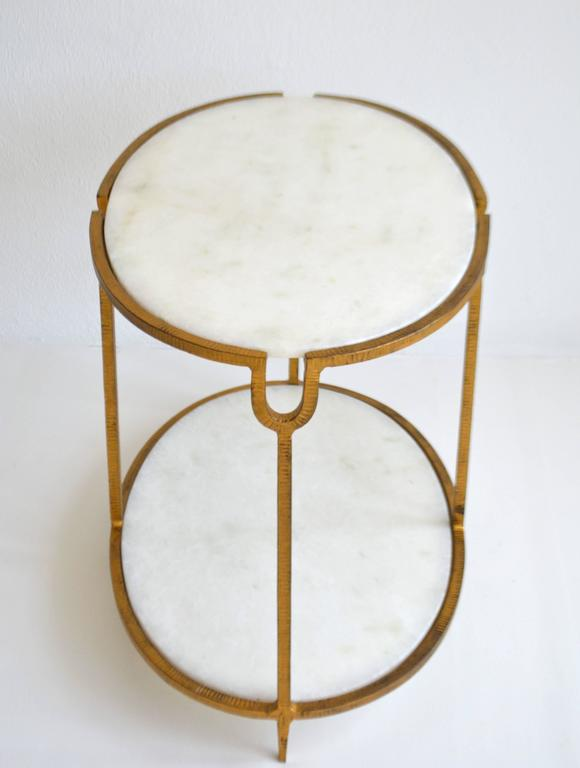 Giltwood Hollywood Regency Gilt Metal Side Table For Sale