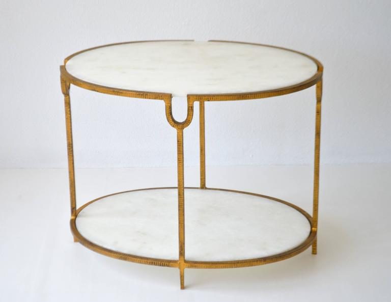 Hollywood Regency Gilt Metal Side Table For Sale 4