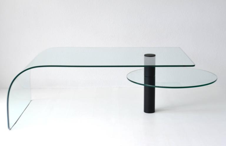 American Post-Modern Two-Tier Waterfall Edge Glass Cocktail Table For Sale