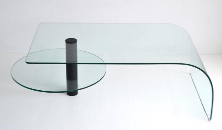 Late 20th Century Post-Modern Two-Tier Waterfall Edge Glass Cocktail Table For Sale