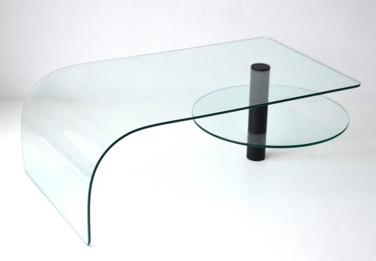 Post-Modern Two-Tier Waterfall Edge Glass Cocktail Table For Sale 5
