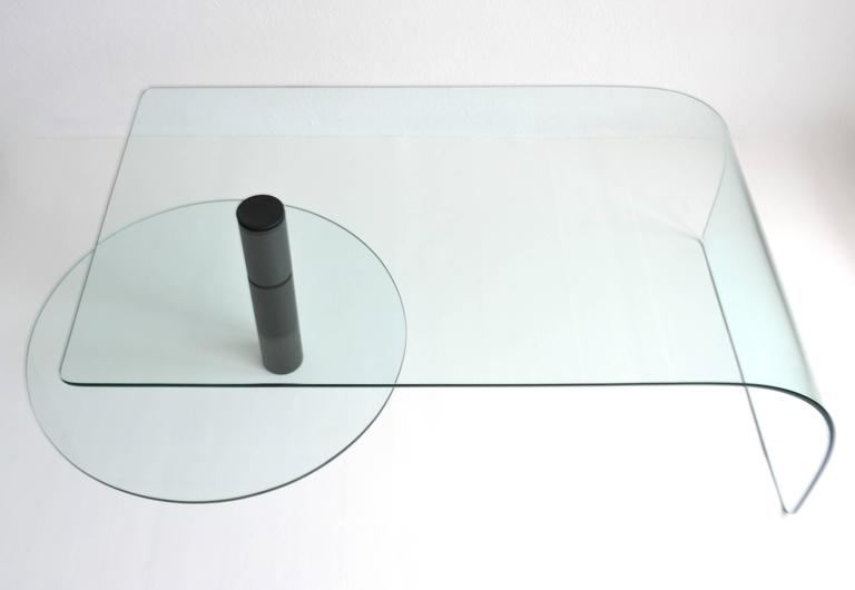 Post-Modern Two-Tier Waterfall Edge Glass Cocktail Table For Sale 2