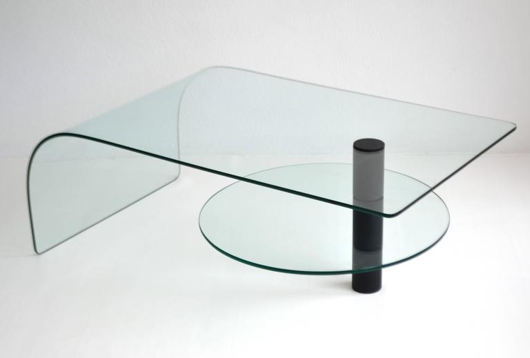 Post-Modern Two-Tier Waterfall Edge Glass Cocktail Table For Sale 1