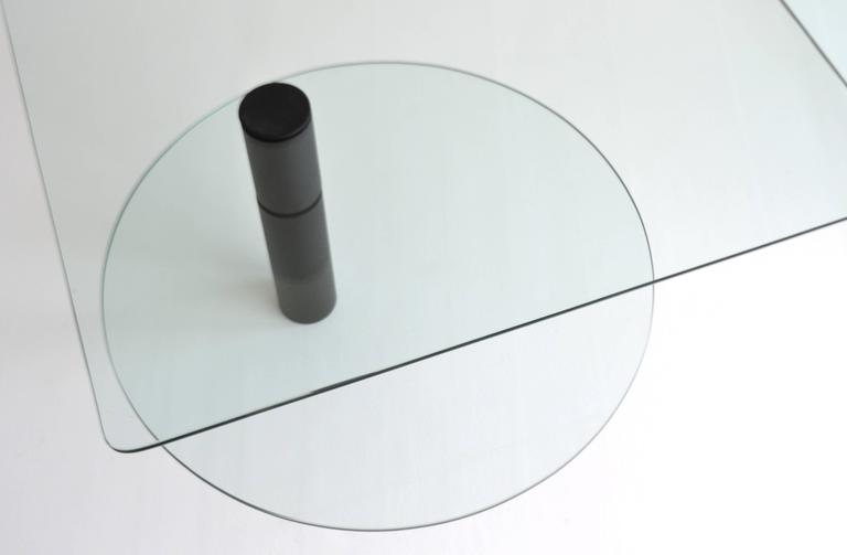 Post-Modern Two-Tier Waterfall Edge Glass Cocktail Table For Sale 3