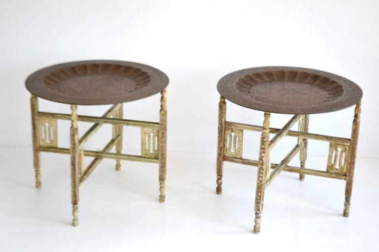 Mid-20th Century Pair of Anglo-Indian Brass Tray Tables For Sale