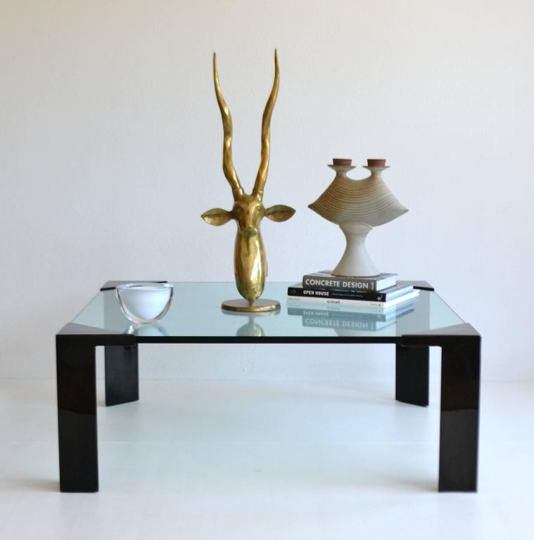 Glass And Metal Square Coffee Table In Black W 80cm: Post-Modern Cocktail Or Coffee Table For Sale At 1stdibs