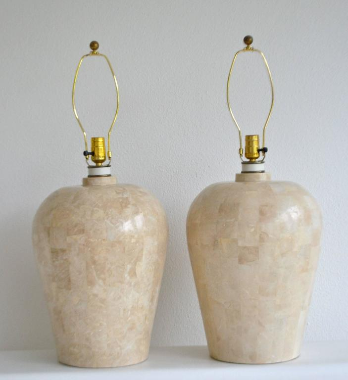 Post-Modern Pair of Postmodern Tessellated Stone Table Lamps For Sale