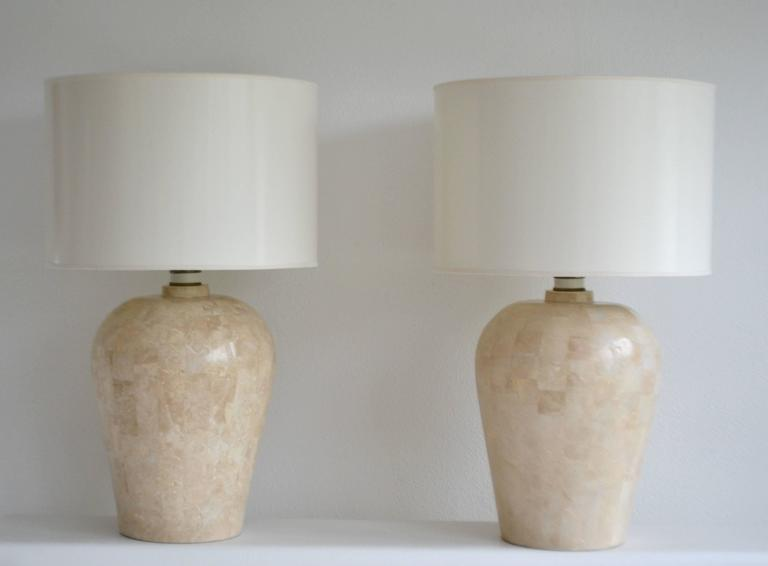 Marble Pair of Postmodern Tessellated Stone Table Lamps For Sale