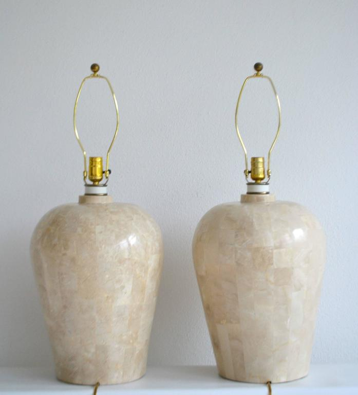 American Pair of Postmodern Tessellated Stone Table Lamps For Sale