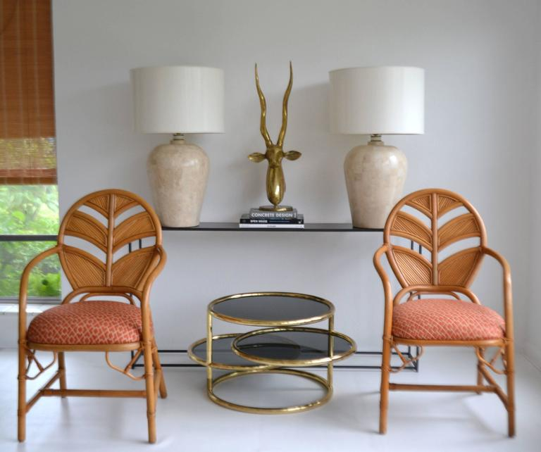 Glamorous Postmodern tessellated stone table lamps, circa 1970s-1980s. These striking lamps are designed of tessellated marble and wired with brass fittings. Shades not included. Measurements: Overall: 30