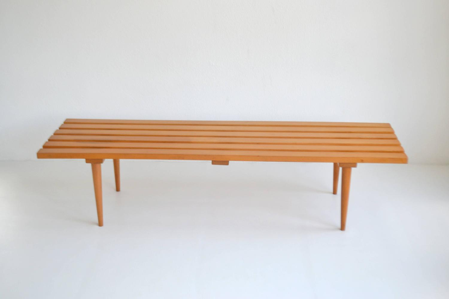 Mid Century Wood Slat Bench For Sale At 1stdibs