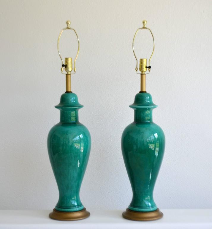 Pair Of Hollywood Regency Ginger Jar Form Ceramic Table