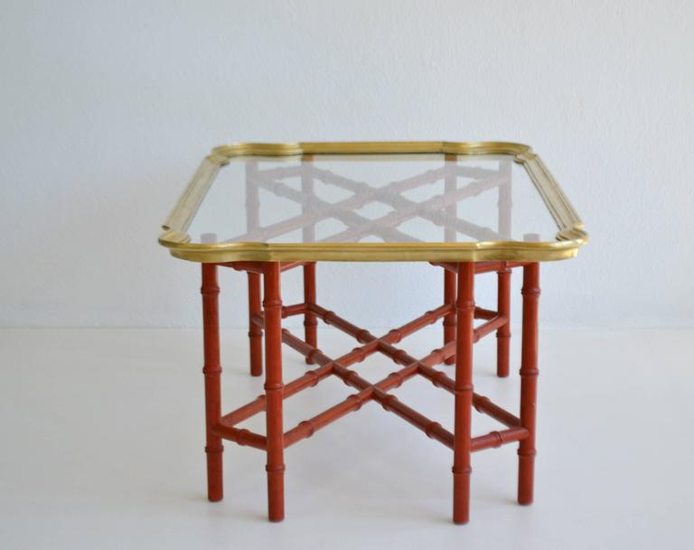 Mid-20th Century Hollywood Regency Faux Bamboo Tray Top Cocktail Table For Sale