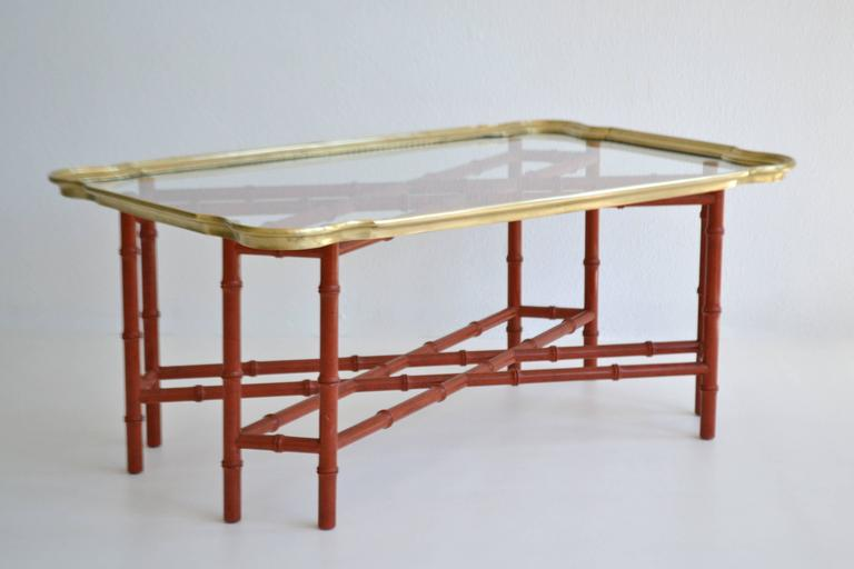 American Hollywood Regency Faux Bamboo Tray Top Cocktail Table For Sale