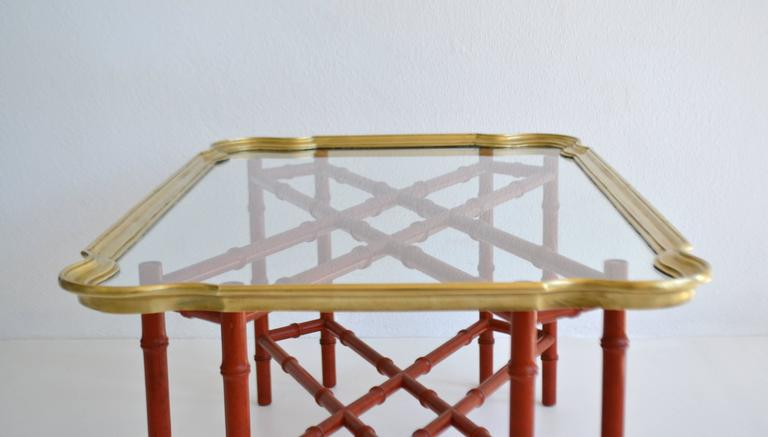 Brass Hollywood Regency Faux Bamboo Tray Top Cocktail Table For Sale