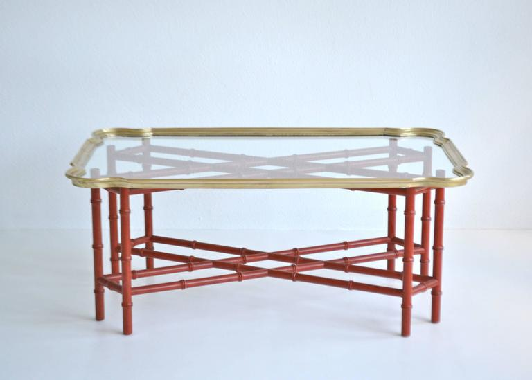 Hollywood Regency Faux Bamboo Tray Top Cocktail Table In Excellent Condition For Sale In West Palm Beach, FL