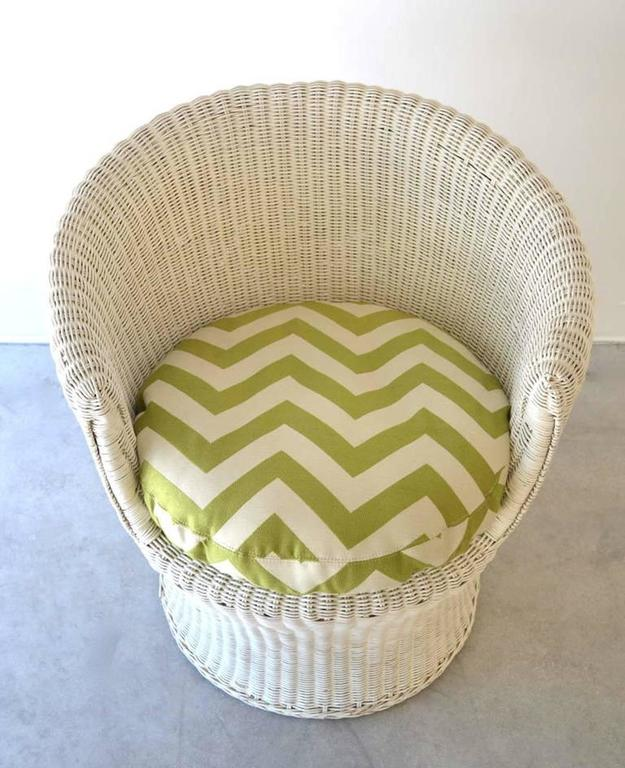 Mid-Century Modern Midcentury French Woven Rattan Tub Chair  For Sale