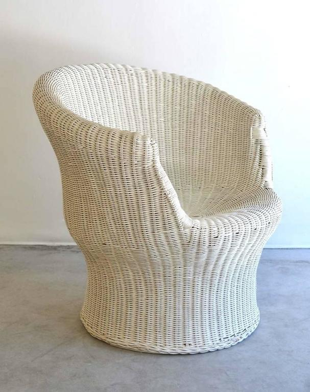 Mid-20th Century Midcentury French Woven Rattan Tub Chair  For Sale