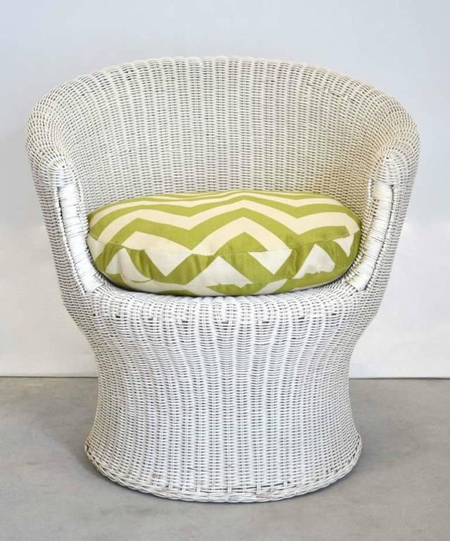 Midcentury French Woven Rattan Tub Chair  For Sale 1