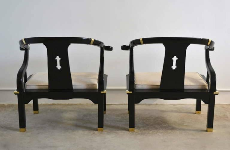 American Pair of Hollywood Regency Asian Inspired Club Chairs For Sale