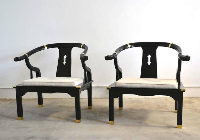 Beau Exquisite Pair Of Hollywood Regency Asian Inspired Black Lacquered Club  Chairs / Lounge Chairs In The
