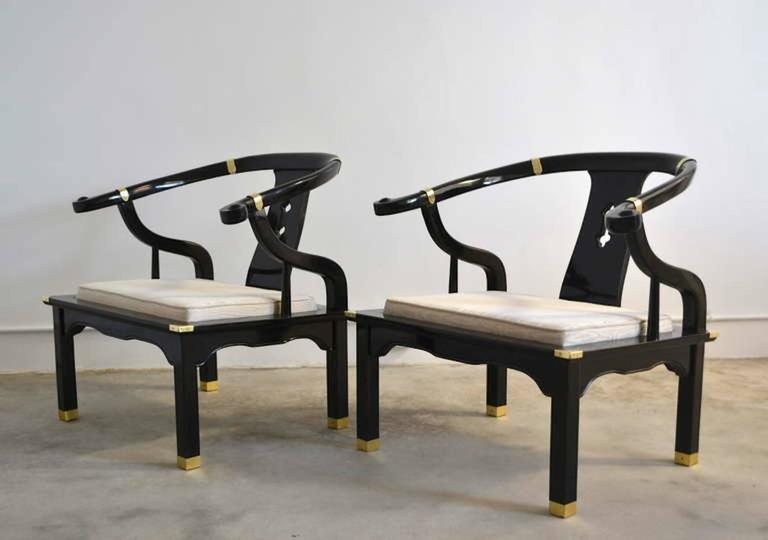 Pair of Hollywood Regency Asian Inspired Club Chairs In Excellent Condition For Sale In West Palm Beach, FL