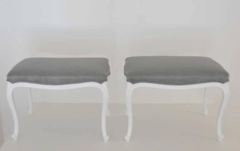 French Pair of Louis XV Style Upholstered Benches For Sale