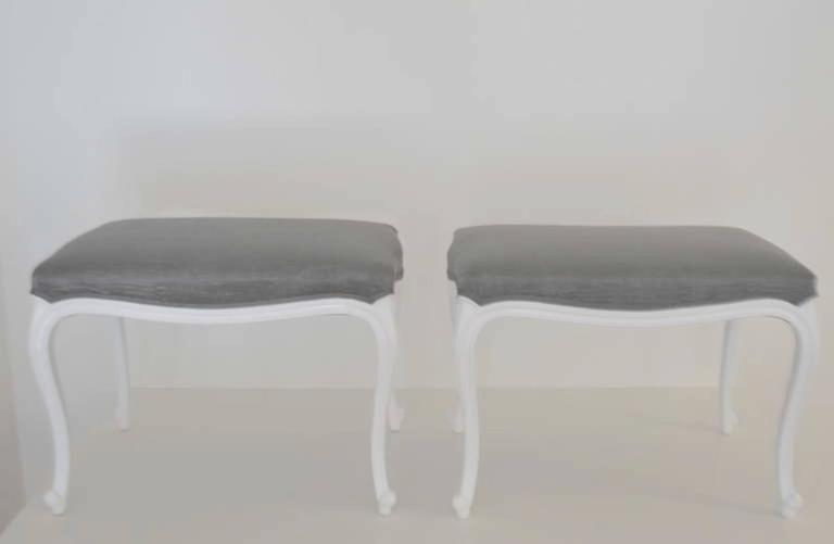 Pair of Louis XV Style Upholstered Benches For Sale 1